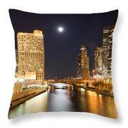 Chicago At Night At Columbus Drive Bridge Throw Pillow