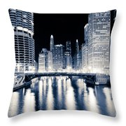 Chicago At Night At Dearborn Street Bridge Throw Pillow