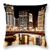 Chicago At Night At State Street Bridge Throw Pillow