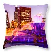 Chicago At Night With Buckingham Fountain Throw Pillow by Paul Velgos