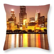 Chicago At Night With Willis-sears Tower Throw Pillow by Paul Velgos
