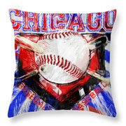 Chicago Baseball Abstract Throw Pillow by David G Paul