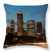 Chicago Business District At Dusk Throw Pillow