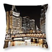 Chicago City At Night Throw Pillow