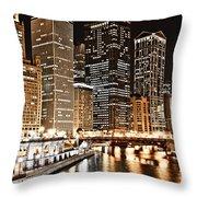 Chicago City Skyline At Night Throw Pillow