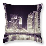 Chicago Cityscape At State Street Bridge Throw Pillow