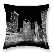 Chicago Downtown At Night  Throw Pillow