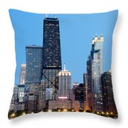 Chicago Downtown At Night With John Hancock Building Throw Pillow