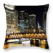 Chicago Dusable Michigan Avenue Bridge At Night Throw Pillow