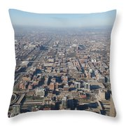 Chicago From The Top Of The Willis Tower Throw Pillow