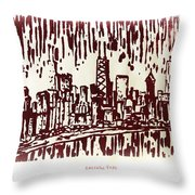 Chicago Great Fire Of 1871 Serigraph Of Skyline Buildings Sears Tower Lake Michigan John Hancock  Throw Pillow