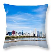 Chicago Lakefront Skyline Wide Angle Throw Pillow