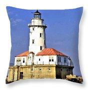 Chicago Lighthouse Throw Pillow
