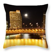 Chicago Michigan Avenue Dusable Bridge At Night Throw Pillow