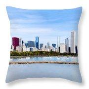Chicago Panarama Skyline Throw Pillow