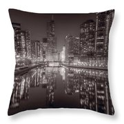 Chicago River East Bw Throw Pillow