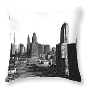 Chicago River In Chicago Throw Pillow