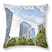 Chicago Skyline At Millenium Park Throw Pillow by Paul Velgos