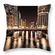 Chicago Skyline At State Street Bridge Throw Pillow