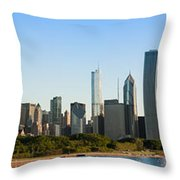 Chicago Skyline At Sunrise Throw Pillow