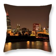 Chicago Skyline Downtown City Buildings At Night Throw Pillow by Paul Velgos
