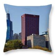 Chicago Skyline From Millenium Park Throw Pillow