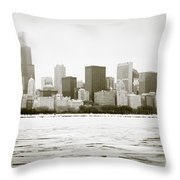 Chicago Skyline In Winter  Throw Pillow by Paul Velgos