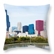 Chicago Skyline Lakefront Throw Pillow by Paul Velgos