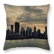 Chicago Skyline Navy Pier Throw Pillow