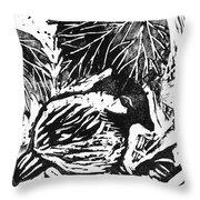 Chick-a-dee  Block Print Throw Pillow by Ellen Miffitt