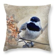 Chickadee Breakfast With Decorations Throw Pillow