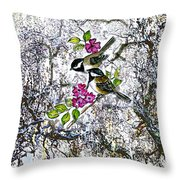 Chickadees In The Filbert Tree Throw Pillow