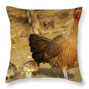 Chicken And Chicks Throw Pillow