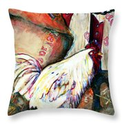 Chicken In The Barn Throw Pillow