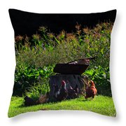 Chickens Of The Corn Throw Pillow