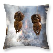 Chickens Roasting On Open Pit Fire Throw Pillow