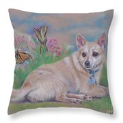 Chihuahua With Butterflies  Throw Pillow
