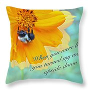 Child Birthday Greeting From Parent Parents - Cosmos And Bumblebee Throw Pillow