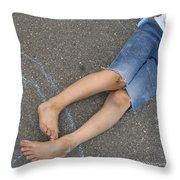 Childhood - Boy Draws With Chalk Throw Pillow