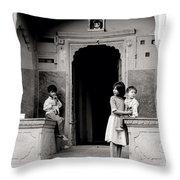 Childhood In Jaipur  Throw Pillow