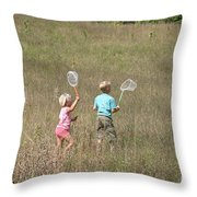 Children Collecting Insects Throw Pillow