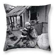 Children In Agra In India Throw Pillow