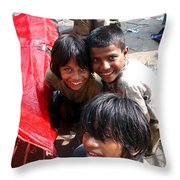 Children Of Labor In India Throw Pillow