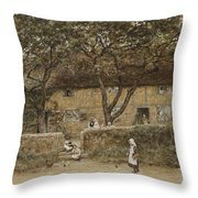 Children Outside A Cottage Throw Pillow