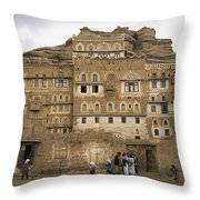 Children Play And Adults Talk Throw Pillow