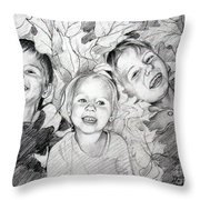 Children Playing In The Fallen Leaves Throw Pillow