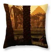 Children Ride A Donkey Near The Step Throw Pillow