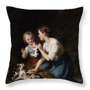 Children With Kitten Throw Pillow