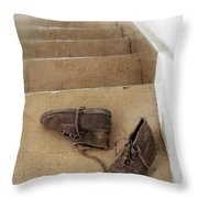 Child's Shoes By Stairs Throw Pillow