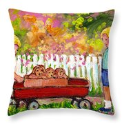 Chilrens Art-boy And Girl With Wagon And Puppies Throw Pillow